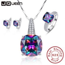 Mystic Rainbow 100% 925 Stamp Sterling Silver Necklace Earrings Ring Set Wedding Anniversary Gifts Jewelry Sets for Women/wife