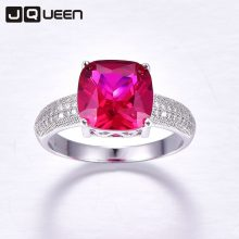 Romantic Wedding Jewelry Ruby Earrings Stud & Chain Necklace & CZ Rings Fine Jewelry 925 Sterling Silver Sets Red for Women 1Box